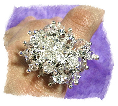 晶钻水晶串珠戒指 ::::格子趣
